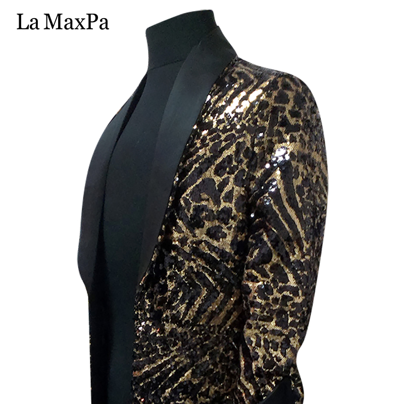 La MaxPa 2017 male singer DJ stage costume Club bar Nightclub Leopard grain Long font b