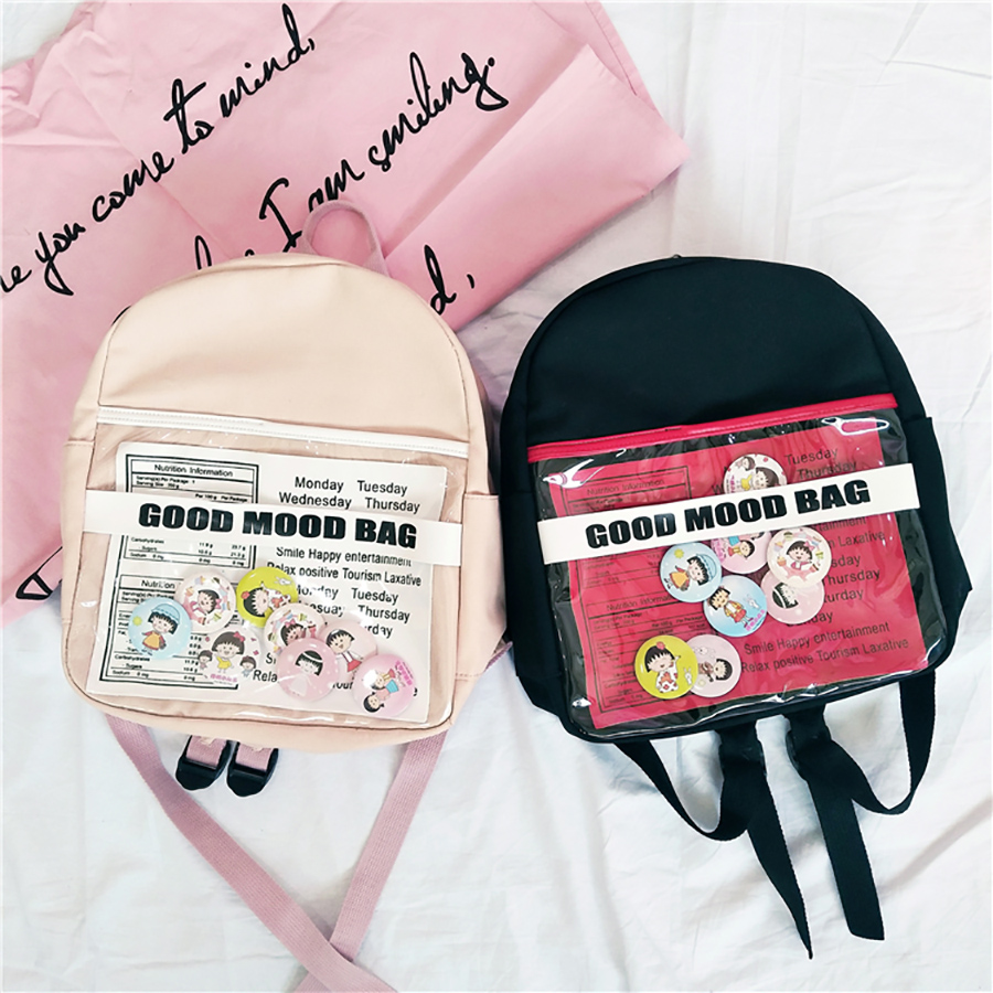 Casual Transparent Women Backpacks Harajuku Cartoon Print Student Schoolbags For Teenage Girls Ita Bags Pvc Waterproof Backpack