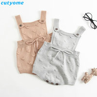 Infant Baby Girls Boys Knit Rompers Sleeveless Crochet Jumpsuits Clothes Toddler Newborn Knitted Overalls Warm Clothes For 0 24M