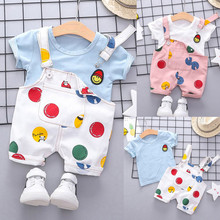 Toddler Kids Baby Boy Girls Outfits Clothes Smile Face T-shirt+Straps Shorts Set arloneet toddler kids baby boy plaid t shirt tops shorts pants 2pcs outfits clothes set feb23 p