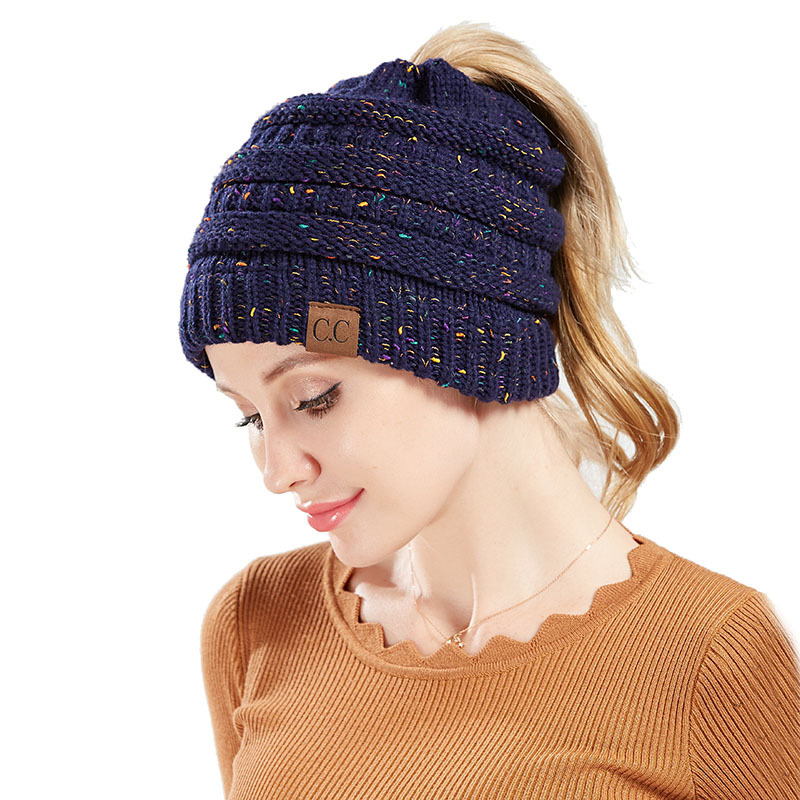 6afeca36848 Winter Hats For Women CC Ponytail Beanie Messy Bun Woolen Hat Casual Mix  Color Knitted Warm Cap Skullies Beanies Soft CC Hats-in Skullies   Beanies  from ...