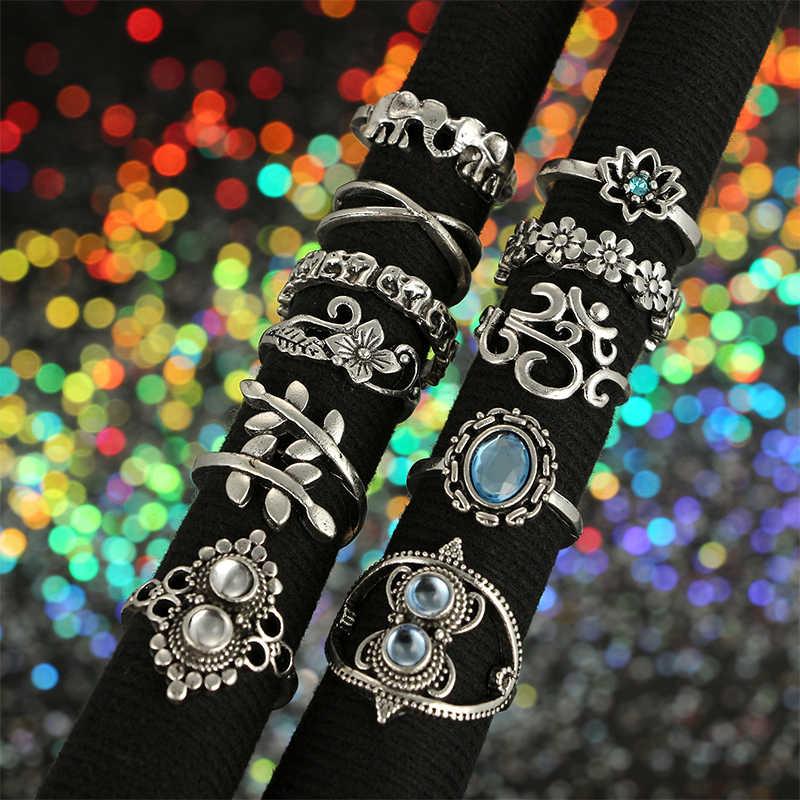 MYHFKK 11pcs anel boho vintage variedade de senhoras JZ016 combinação anel conjunto anel estilo étnico anel presente da menina