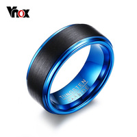 Vnox Tungsten Blue Rings For Men Jewelry Classical Men S 8MM Black And Blue Ring US