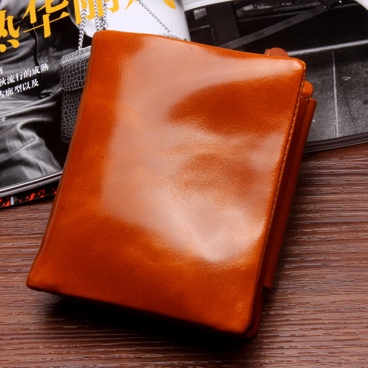 Best Fashion Vintage Oil Wax Genuine Leather Wallet Women Luxury Brand Coin Purse Mini Travel Wallet Womens Wallets And Purses