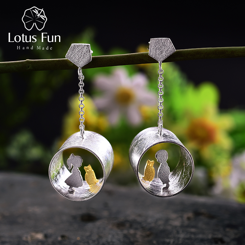 Lotus Fun Real 925 Sterling Silver Earrings Creative Handmade Fine Jewelry Meeting Love With Cat Drop Earrings for Women Brincos