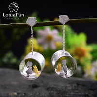 Lotus Fun Real 925 Sterling Silver Natural Creative Handmade Fine Jewelry Meeting Love With Cat Drop Earrings for Women Brincos