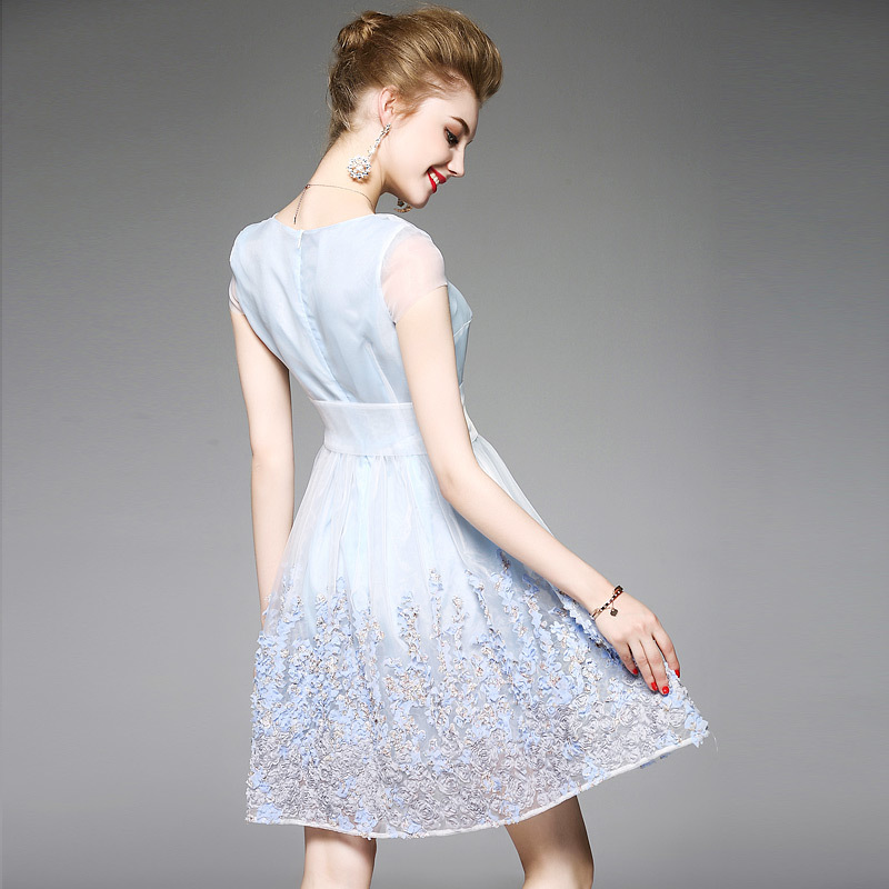 Women Tunic Summer Dresses With Belt 2017 Light Blu Transparent Short Cap Sleeve 3d Applique Flower Embroidery Midi Tulle Dress