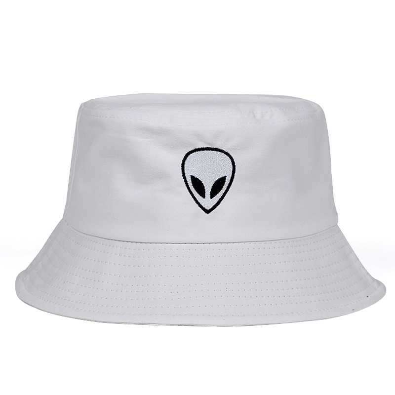 20d49a5c6e9d22 ... 2018 black white solid Alien Bucket Hat Unisex Bob Caps Hip Hop Gorros  Men women Summer ...