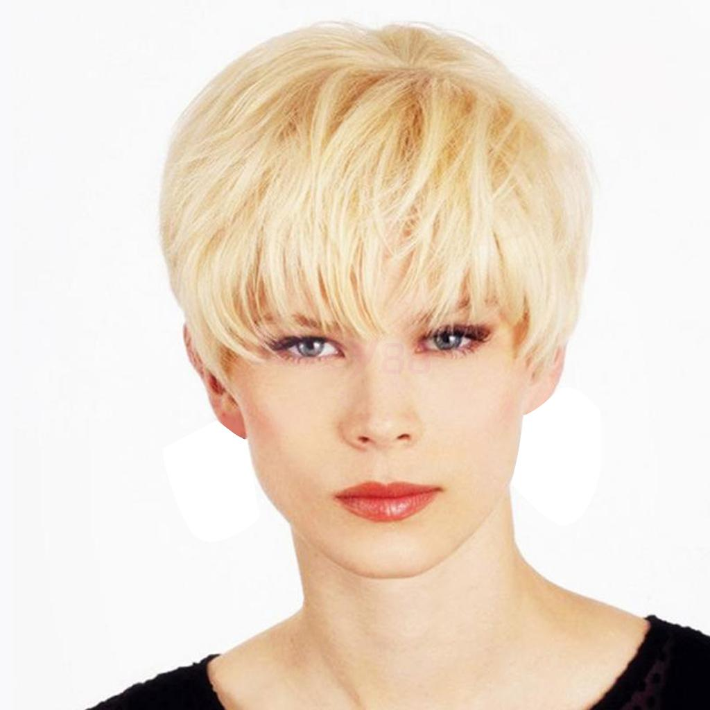 цена на Natural Short Straight Pixie Cut Wigs Human Hair Full Cosplay Wig with Bangs for Women