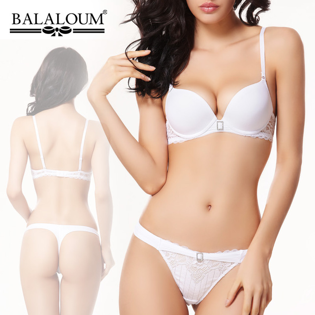 Push Up Sexy Bra Set Women Pure White Wedding Underwear Diamond Lingerie Balaloum Brand Lace Bras High-end Quality Intimates VS