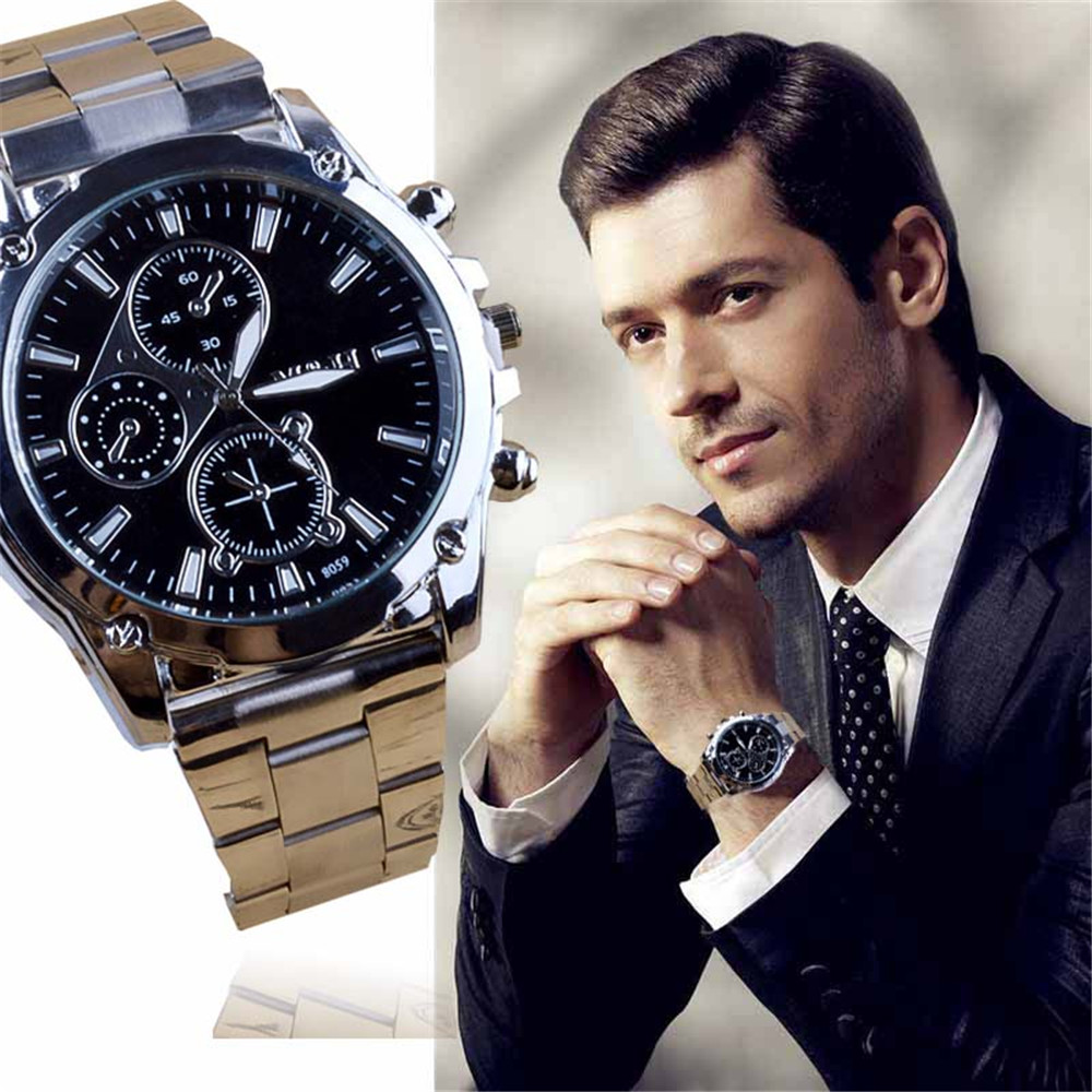 CLAUDIA New Fashion Mens font b Watches b font Business Stainless Steel Band Three Eyes Machinery