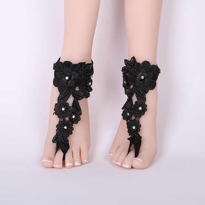 Черный босиком сандалии пляж бассейн носить носок кольцо ножной браслет Nudeshoes ноги ювелирные изделия викторианской Кружева yoga обувь свадебный браслет жемчуг