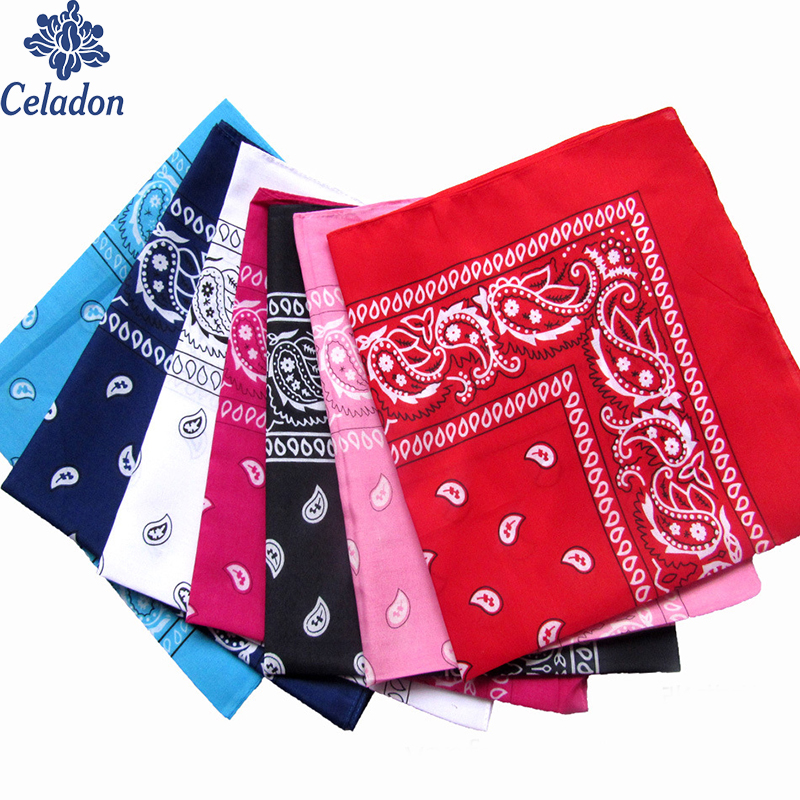 Fashion Hip Hop Cotton Blended Bandana Square Scarf 55cm*55cm Black Red Paisley Magic Headband Printed For Women/Men/Boys/Girls
