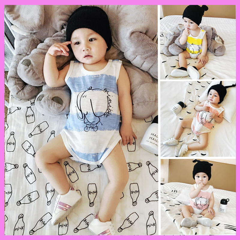 Cotton Newborn Baby Boy Girl Summer Romper Vest Striped Triangle Climbing Rompers Short Sleeve Jumpsuit Infant Wear Clothes Set