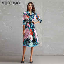 2018 Newest Fall Peter Pan Collar Long Sleeve Floral Print High Quality Vintage Mid-Calf Blue Pleated Dress Women With Belt