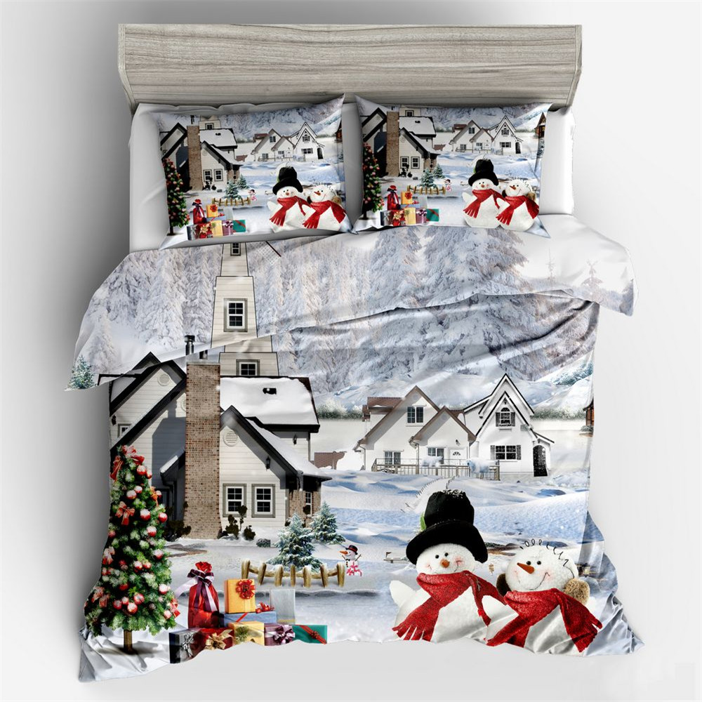 Christmas Bedding Set USA Twin Full Queen King Xmas Duvet Cover lovely Pillow Cases Snow Tree Bed Linen Set 3pcs 3D bedclothes