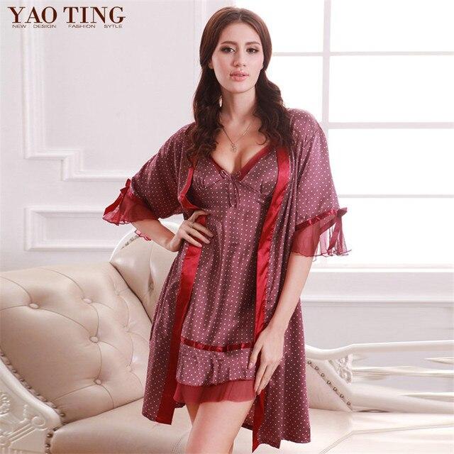 Новые Моды для Женщин Халат и Платье Устанавливает Леди Темперамент Искусственного Шелка Платье Устанавливает Сексуальный Кусок Встроенные Производители Оптовая Домашняя Одежда
