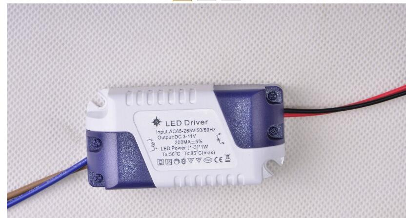 1 piece lifetime warranty (1-3) X 1W LED driver Constant Current light lamp drivers AC 85 V- 265 V to DC 3 -11 V 300mA For 1W 3W