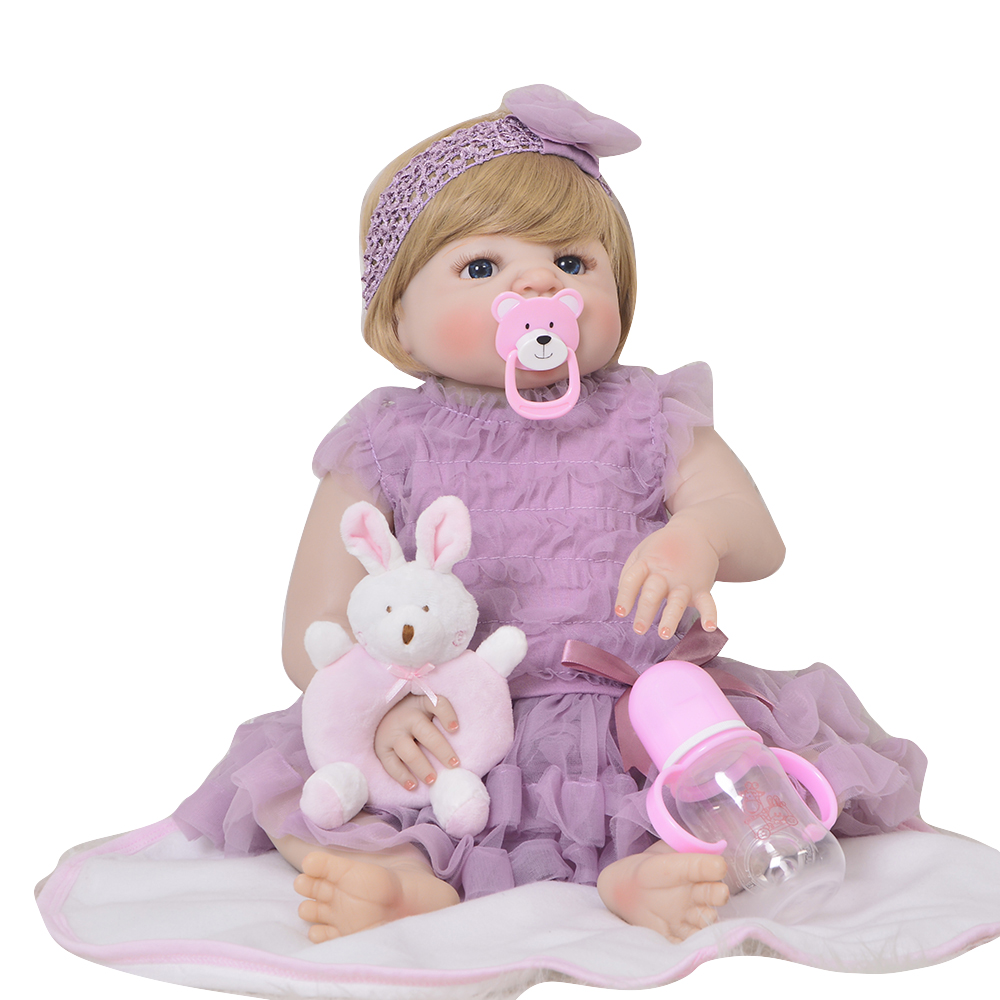 Handmade 23 Inch Reborn Baby Girl Doll Full Silicone Body 57 cm Lifelike Baby Toy For