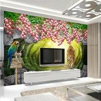 Papel De Parede Custom Wallpaper 3D Fresco Wall Sticker A Beautiful Leopard TV Background Wall 3d