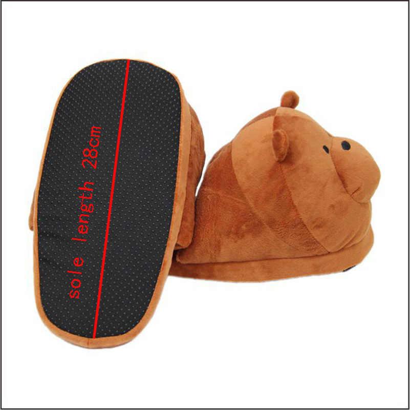 Большие размеры 28 см; зимние плюшевые тапочки; домашняя обувь с серым медведем, коричневым медведем; женские теплые домашние тапочки с нескользящей подошвой
