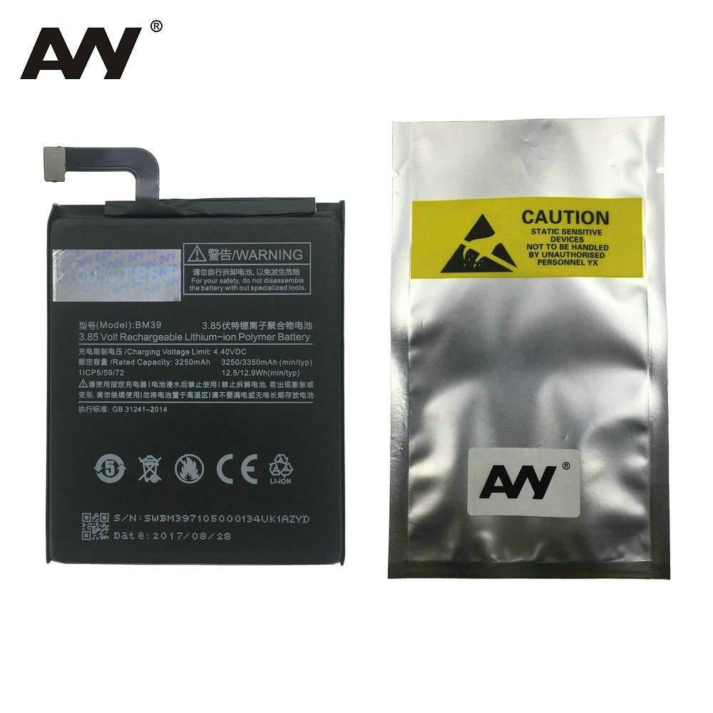AVY Battery BM39 For Xiaomi Mi 6 Mi6 Mobile Phone Replacement Li-ion Batteries Rechargeable Bateria 3250mAh 3350mAh 100% Test