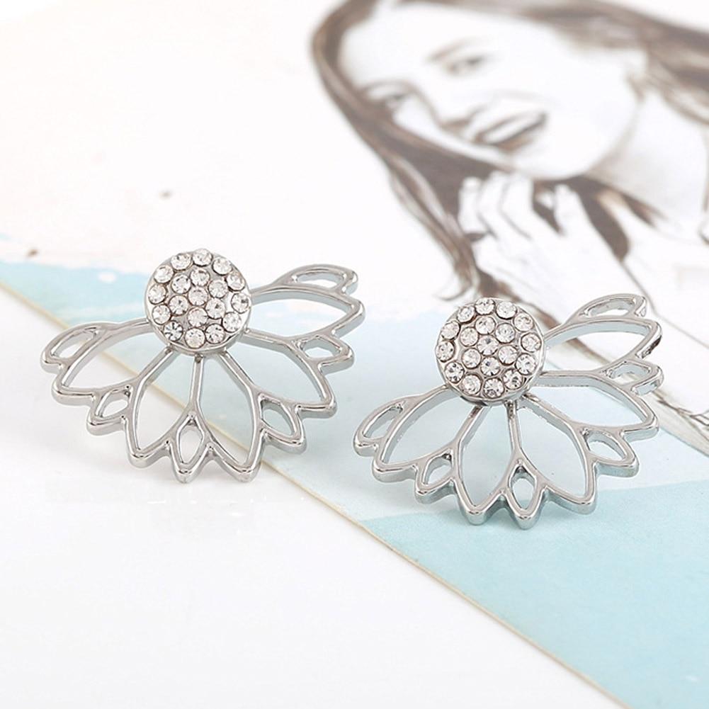 Vintage Fashion Gold Silver Plated Crystal Rhinestone Lotus Flower