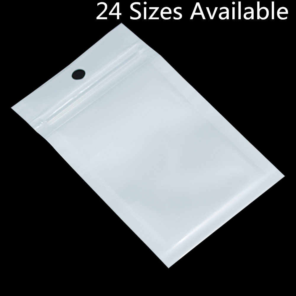 100PCS Small White / Clear Zip Lock Plastic Package Bags with Zipper Self Seal Transparent Ziplock Poly Packaging Bag Hang Hole