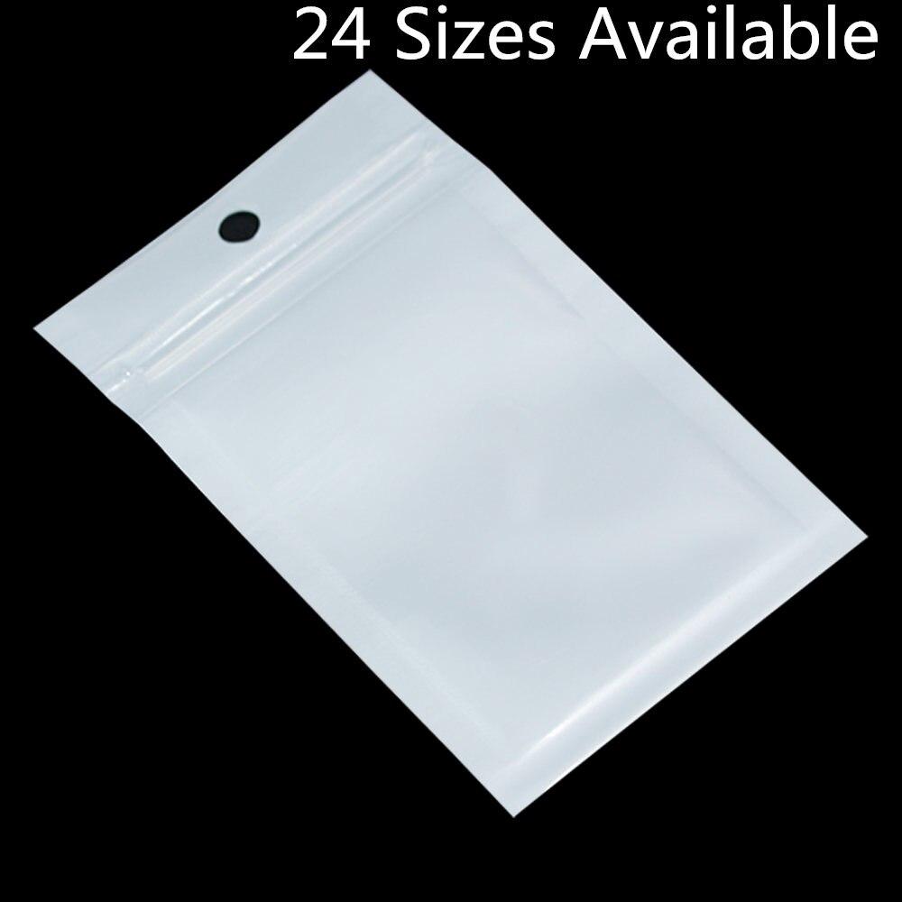 Wholesale 6cm*10cm White / Clear Self Seal Zipper Plastic Retail Packaging Bag, Ziplock Zip Lock Bag Package W/ Hang Hole