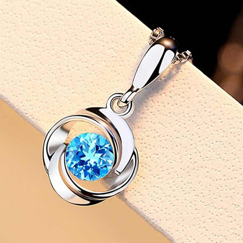 חדש אופנה כחול אבן תליוני אלגנטי קריסטל ריינסטון שרשראות תליון לנשים (ללא שרשרת)