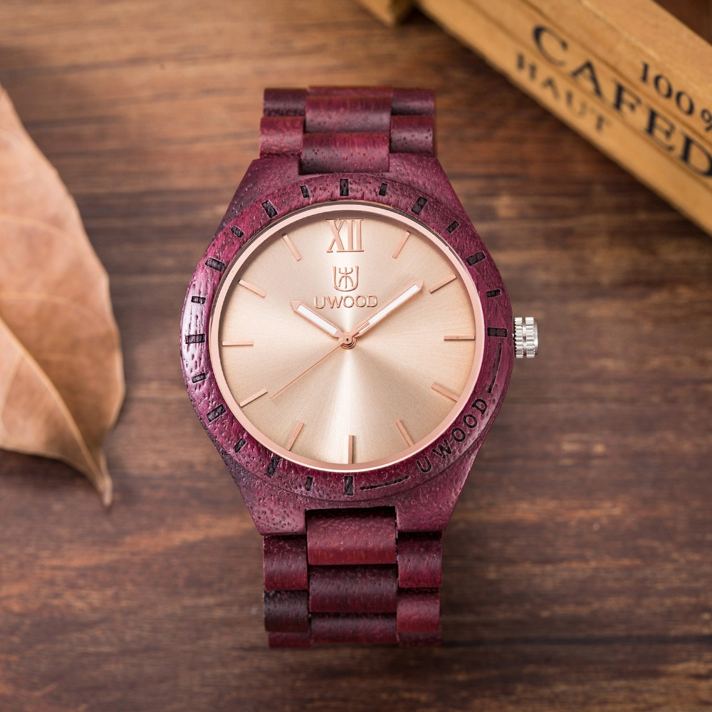 18 Hot Sell Men Dress Watch QUartz UWOOD Mens Wooden Watch Wood Wrist Watches men Natural Calendar Display Bangle Gift Relogio 19