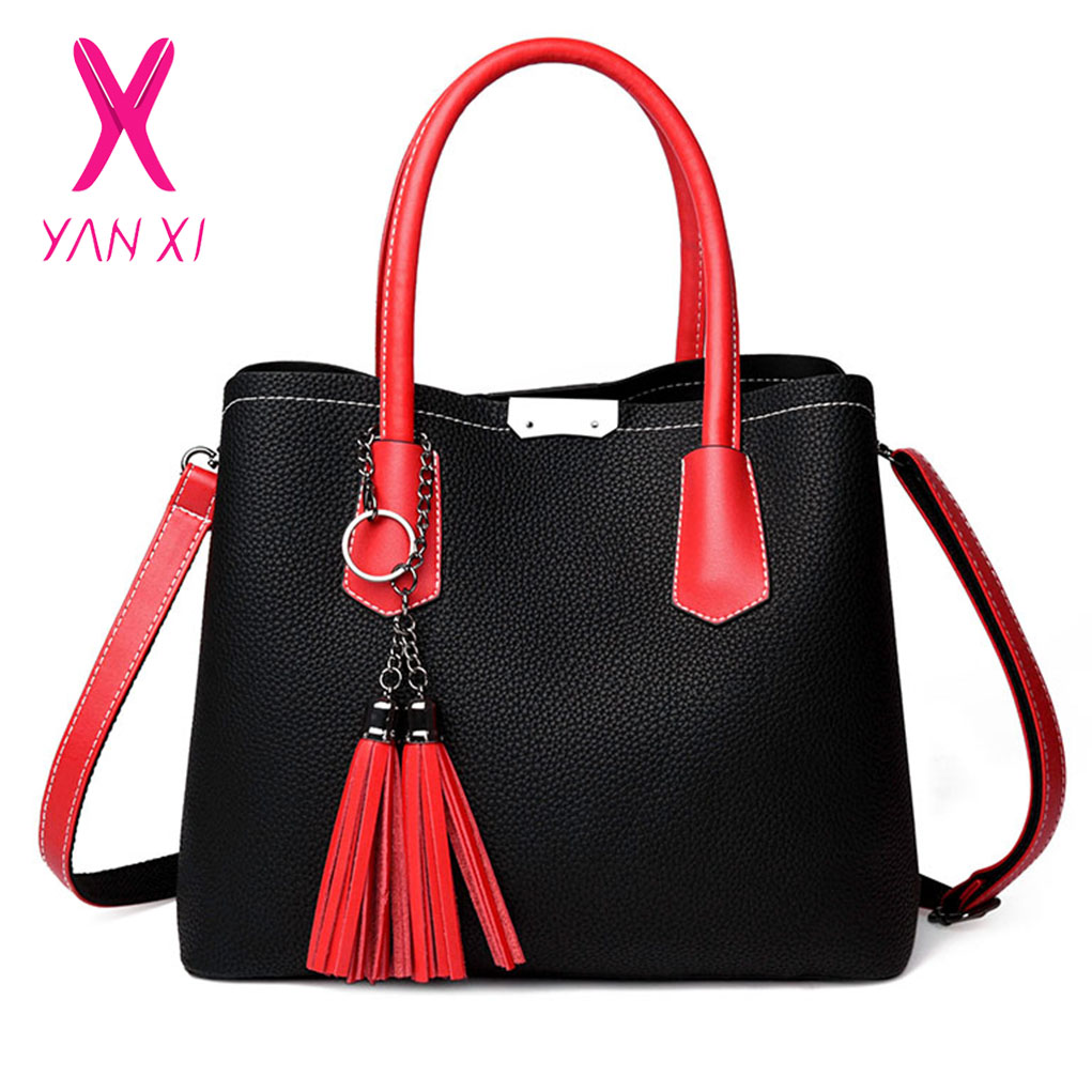 YANXI Handbag Tassel Bag Simple Color Bucket Bag Female Shoulder Bags Women Large Capacity Shopping Tote Bags Leisure Sac A Main стоимость