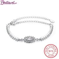 Moda Verdadeira 925 Sterling Silver Fine Jewelry Oval AAA Zircon Pulseiras para As Mulheres Armband CZ Pedra Comprimento 20 cm Casamento presente