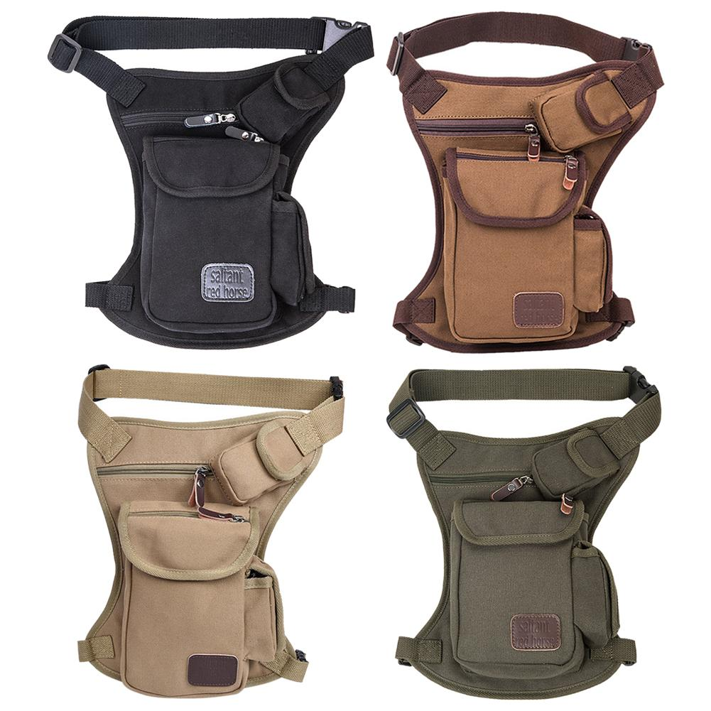 Multifunction Outdoor Sports Cycling Men Canvas Storage Pouch Waist Belt Leg Bag