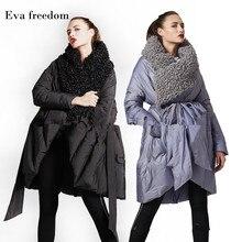 Eva Freedom Original Design down coat woman 2018 winter loose Imitation beach wool cloak jacket hooded