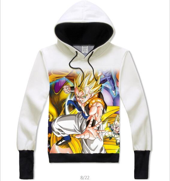 [XHTWCY] Nouvelle mode Japonaise l'anime Dragon Ball Z Goku Sweat Zippé À Capuche 3d sweat pulls à capuche pour hommes automne survêtement à capuche