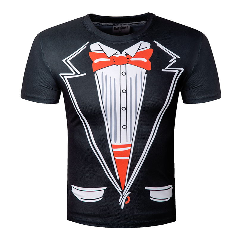 2018 Newest Novelty Men T Shirts Tuxedo Tees Retro Tie Funny Camisetas Men O Neck Top Tshirt Casual leisure Mens Clothing M-5XL