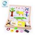 ToyMultifunctional Granja Educativa Animal de La Selva de madera Tablero de Dibujo Magnética Rompecabezas Niños Rompecabezas De Madera del bebé
