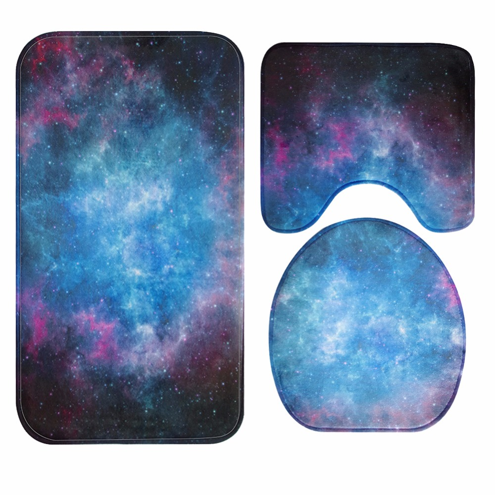 buy honlaker cool galaxy nebula bathroom toilet mats set super soft decorative bath mat rug from reliable bath mats rugs suppliers on