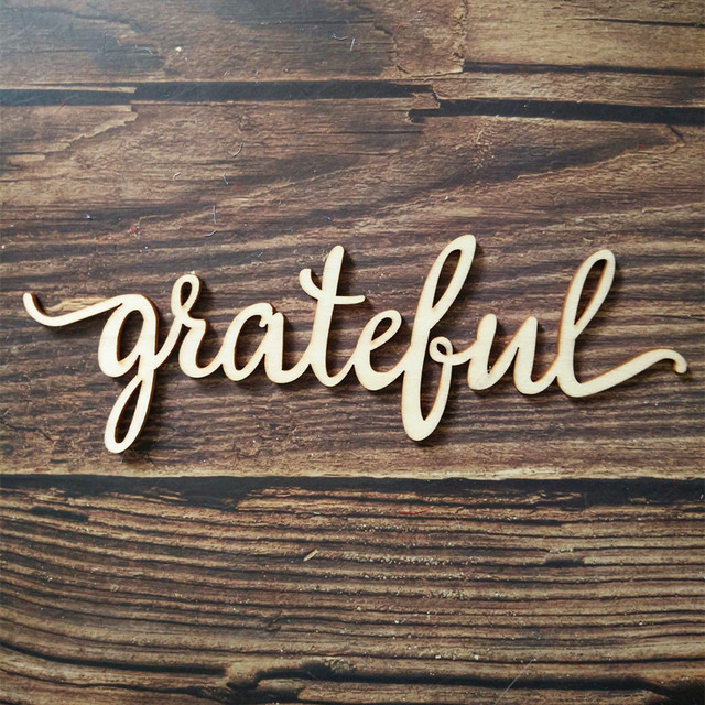 Us 40 10pcs Grateful Script Word Wood Sign Wooden Words Sign Art Rustic Cursive Word Room Decoration Wall Hanging Laser Cut Unfinished In Figurines