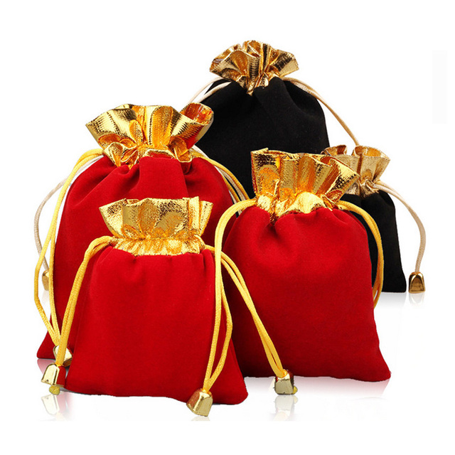 ab8ea7392e767 1pcs Velvet Jewelry Bead Packaging Drawstring Pouches Bag Black Red Flannel Gift  Bags Golden Satin Pouch