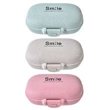 Small Pill Box storage boxes bins Plastic Dispenser Sealed Container Wheat Straw Safety Portable Pill Box Mini Pillbox Container electronic digital compartment smart timing sealed pill case medicine box container tablet storage case circular reminder alarm