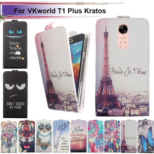 official photos 6eb16 bca9a US $4.34 |Fashion 11 Colors Cartoon Pattern Up and Down Flip PU Leather  Case For VKworld T1 Plus Kratos-in Flip Cases from Cellphones & ...
