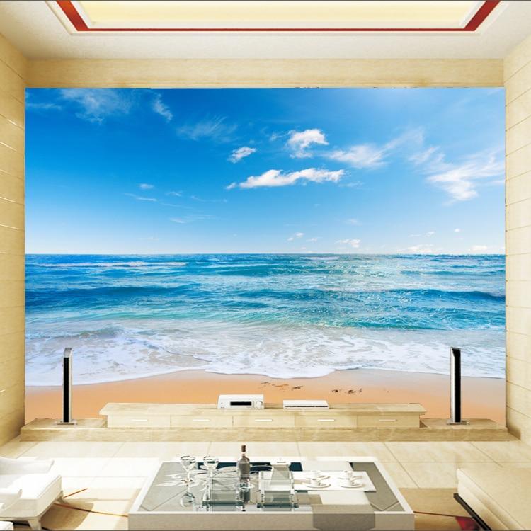 Seaview Beach Wall Paper Fototapete 3d Duvar Kaplama Mural Wallpaper ...