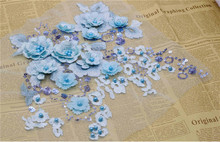 2Pcs Sequined Lace Trim Decorate Flower Applique 3D Flowers Appliqued Fabric Pearls Patch For Sewing Accessories