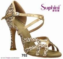 БЕСПЛАТНАЯ ДОСТАВКА 2017 Suphini Bravo Женщина Танцевальная Обувь Leopard Латинской Сальса Танцевальная Обувь