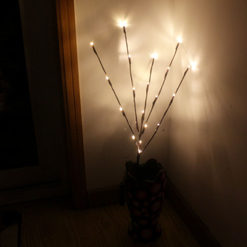 New Arrival Creative 20 Leds Branch Lights Luminou Wedding Christmas Festival Home Decoration Romantic Willow Twig Branches Lamp classic candlestick hollow iron art lamp for romantic wedding home decoration