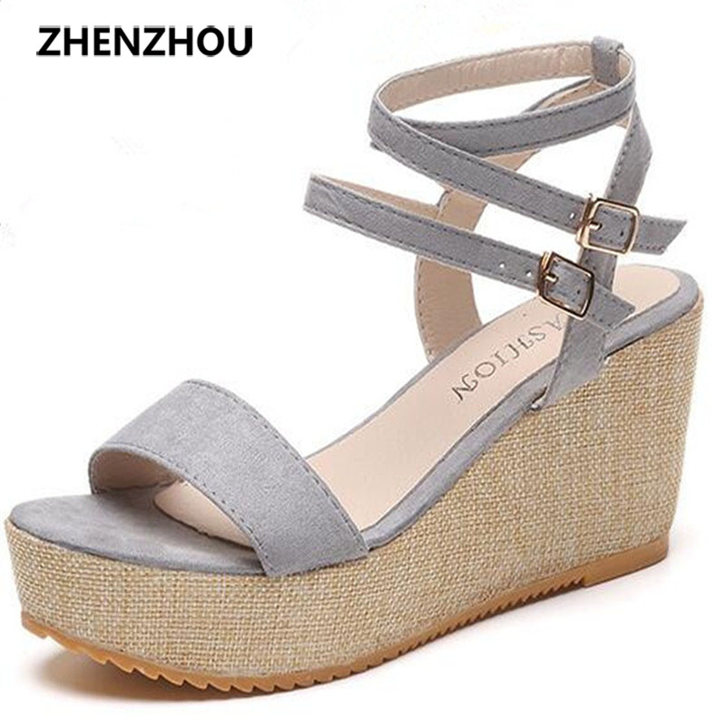 summer of 2017 the new wedge fish mouth shoes Roman sandals sponge thick bottom female students high heels for women's shoes the bride single shoes catwalk shows the performance of 15 cm high with roman style thick bottom appeal show shoes
