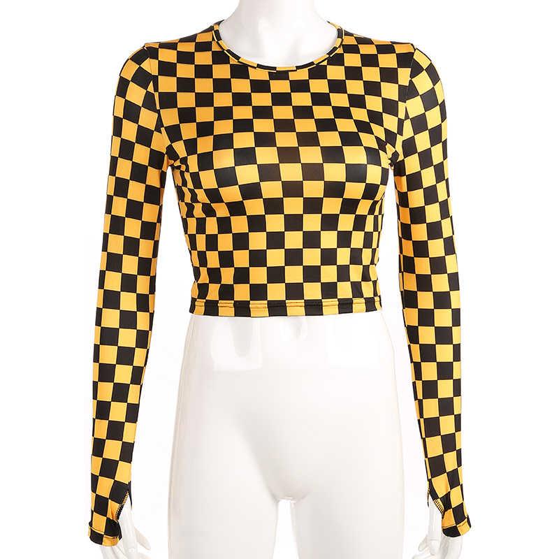Rapcopter Vrouwen Plaid Casual T-shirt Streetwear Lange Mouwen T-shirt Cropped Geel Checkboard O-hals T-shirt Sexy Bodycon Vrouwelijke