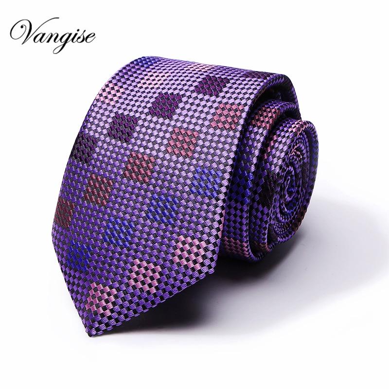 Plaid Ties Men's Fashion Tie 8cm Blue Necktie Purple & Orange Color Neck Tie For Men Business Red Wedding Suit Accessory